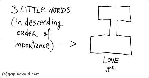 3 little words (in descending order of importance): I love you