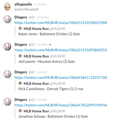 Screenshot of a Slack channel showing home run alerts